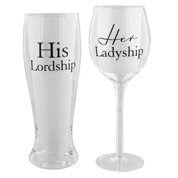 His Lordship Her Ladyship Glasses Set - Wedlock Shop