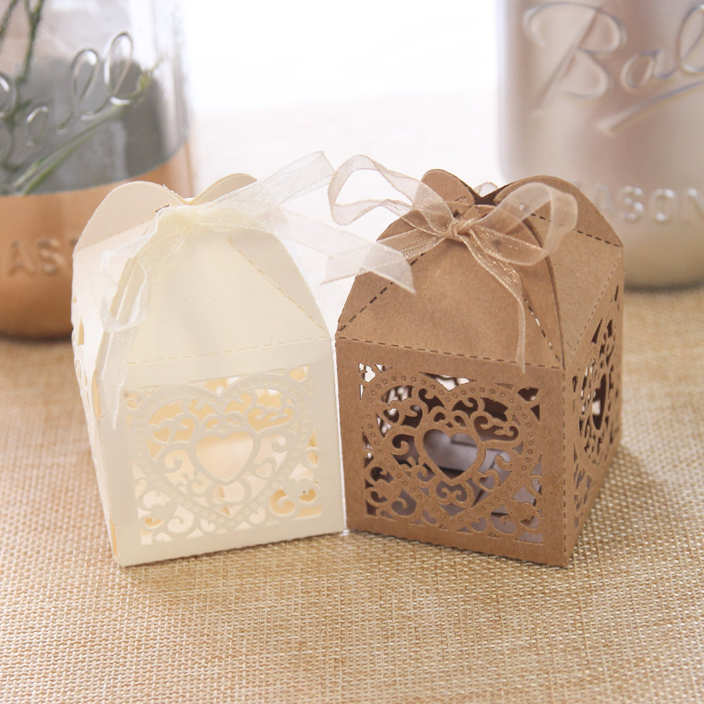 Double Heart Favour Box - Ivory - Wedlock Shop - 2