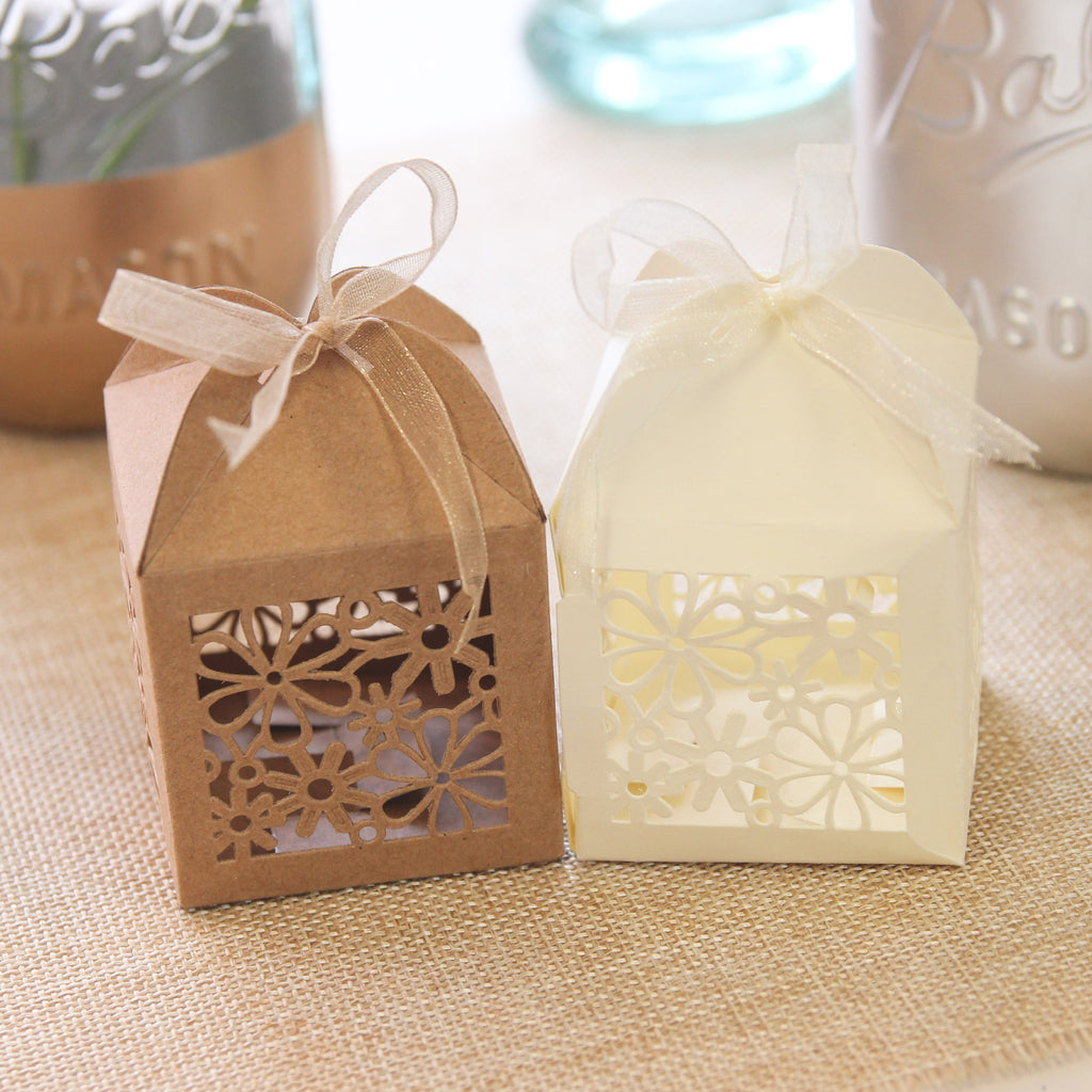 Laser Cut Flowers Favour Box - Ivory - Wedlock Shop - 2