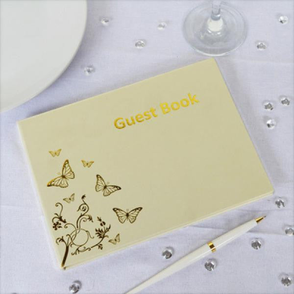 Butterfly Design Guest Book - Ivory & Gold - Wedlock Shop