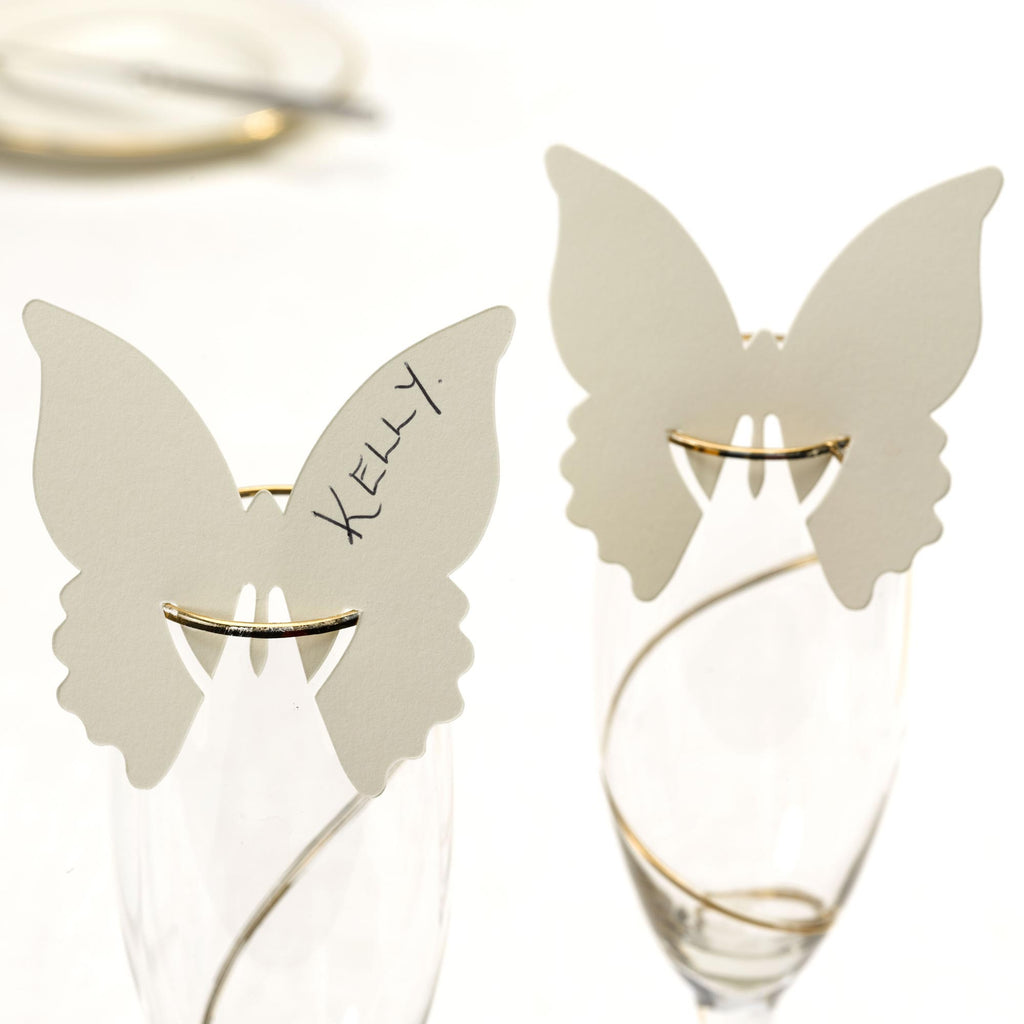 Ivory Place Cards for Glass - Elegant Butterfly - Wedlock Shop