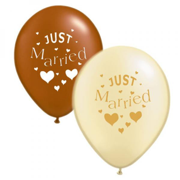 Just Married Balloons - Brown & Ivory Mix - Wedlock Shop