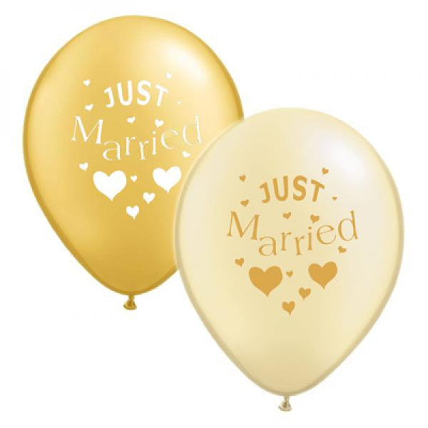 Just Married Balloons - Gold and Ivory Mix - Wedlock Shop