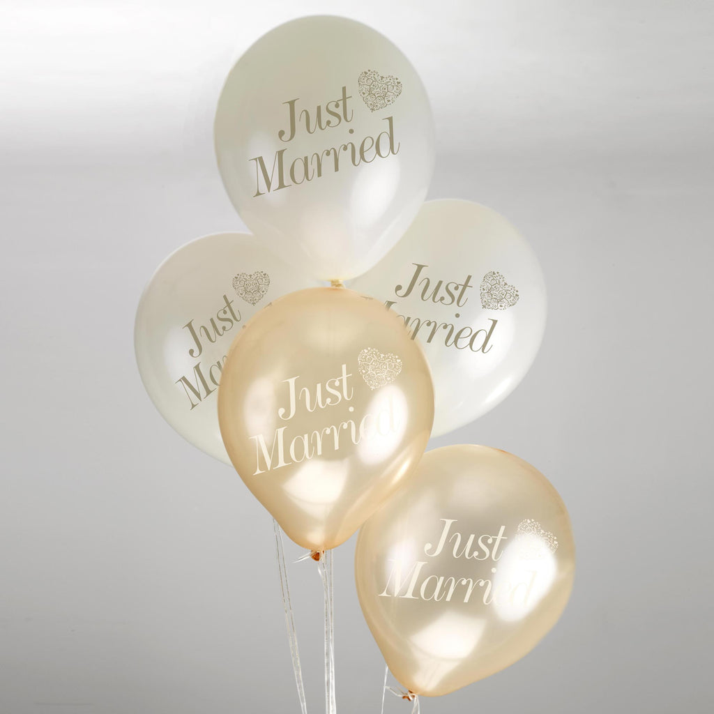 Just Married Balloons Ivory/Gold - Vintage Romance - Wedlock Shop - 1