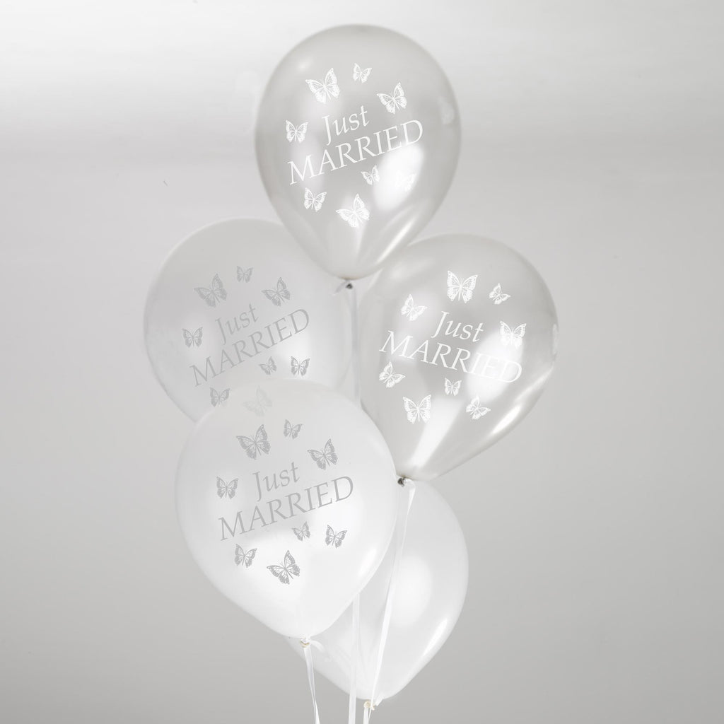 Just Married Balloons White/Silver - Elegant Butterfly - Wedlock Shop