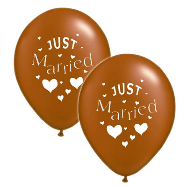 Just Married Balloons Brown with White - Wedlock Shop