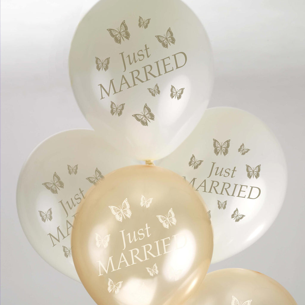 Just Married Balloons Ivory/Gold - Elegant Butterfly - Wedlock Shop - 2