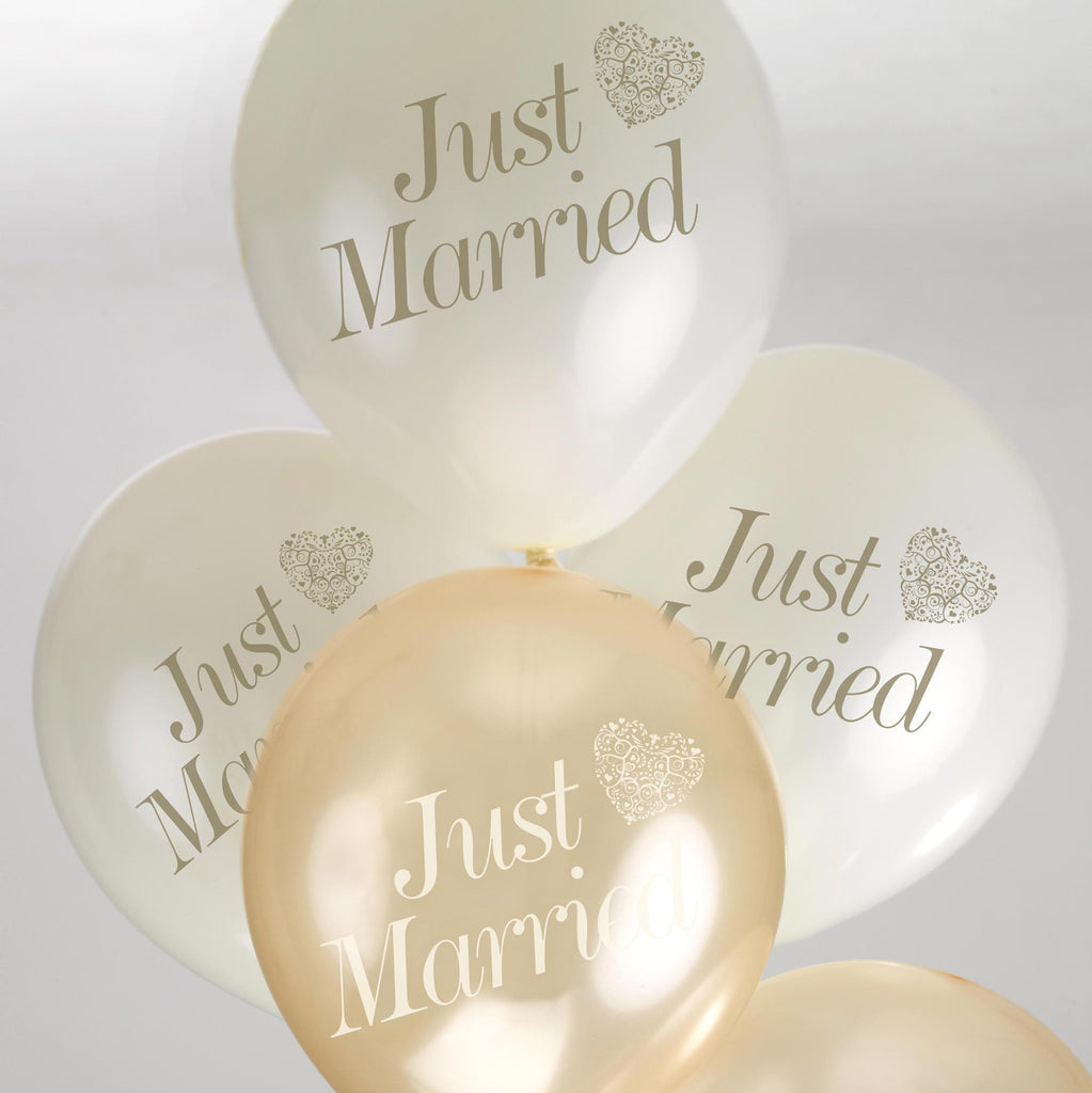 Just Married Balloons Ivory/Gold - Vintage Romance - Wedlock Shop - 2