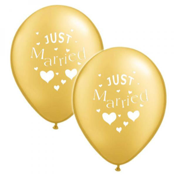 Just Married Balloons Gold with White - Wedlock Shop
