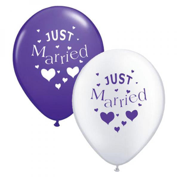Just Married Balloons Purple & White Mix - Wedlock Shop