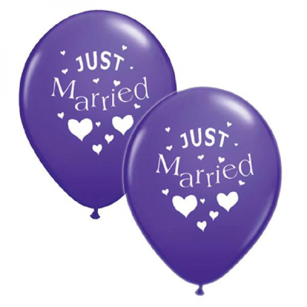 Just Married Balloons Purple with White - Wedlock Shop