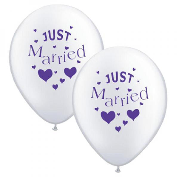 Just Married Balloons White with Purple - Wedlock Shop