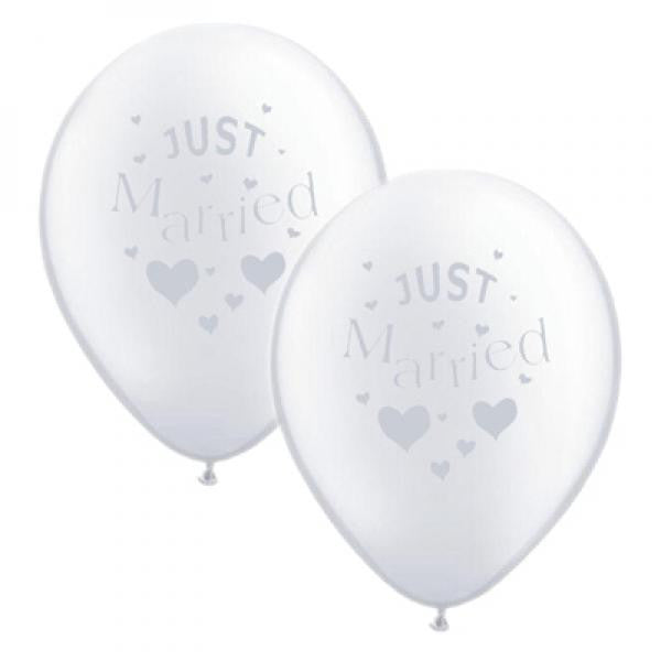 Just Married Balloons White with Silver - Wedlock Shop