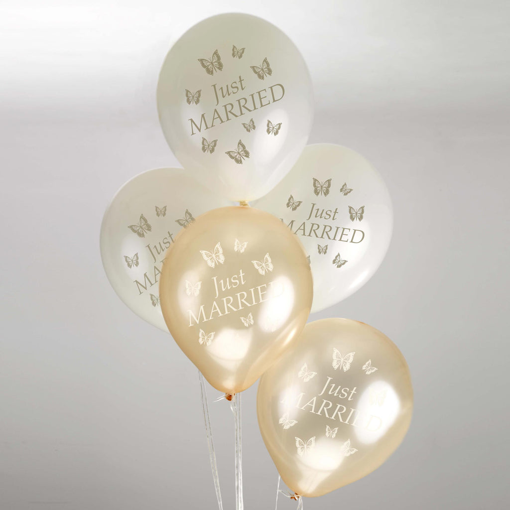 Just Married Balloons Ivory/Gold - Elegant Butterfly - Wedlock Shop - 1