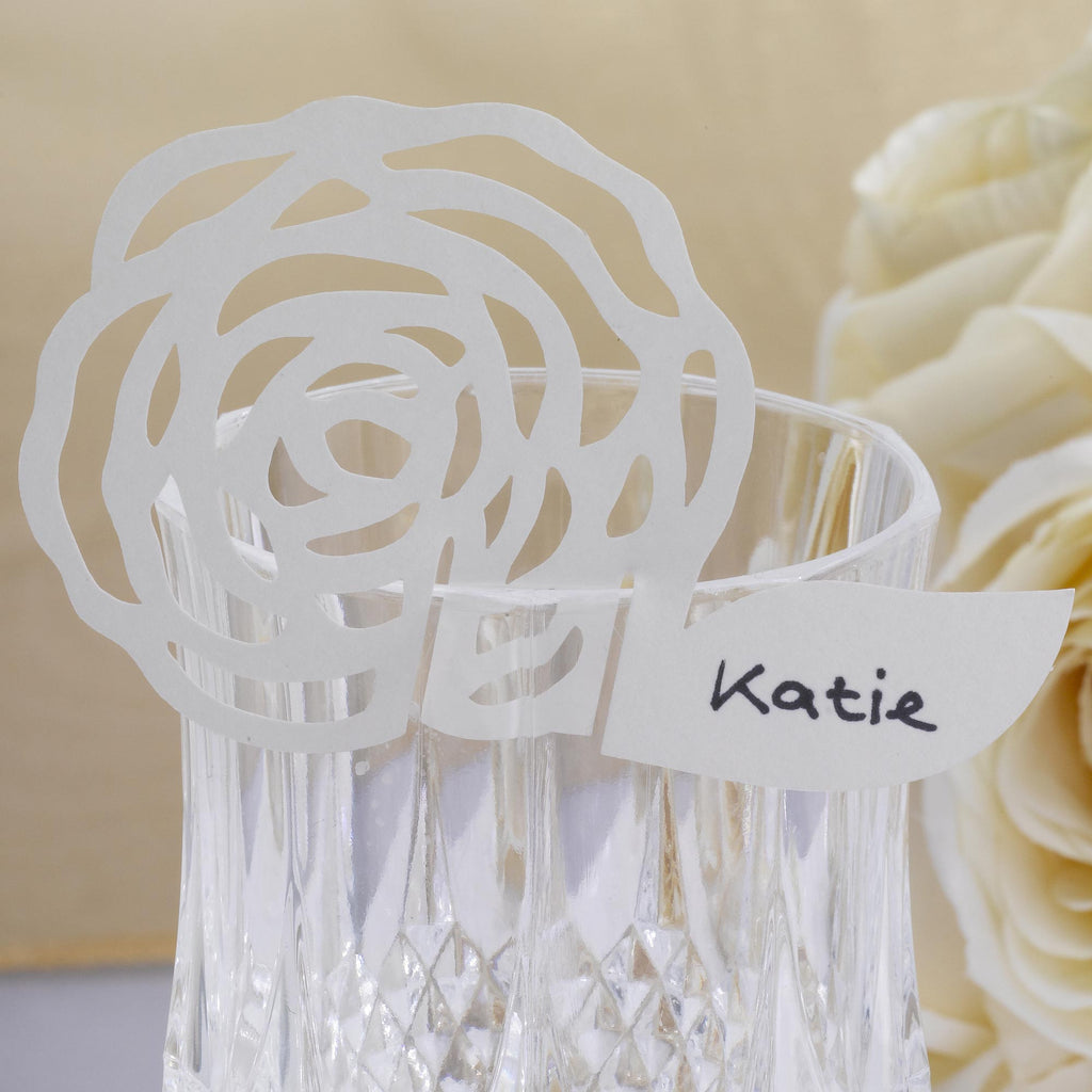 Ivory Rose Place Card for Glass - Chic Boutique - Wedlock Shop
