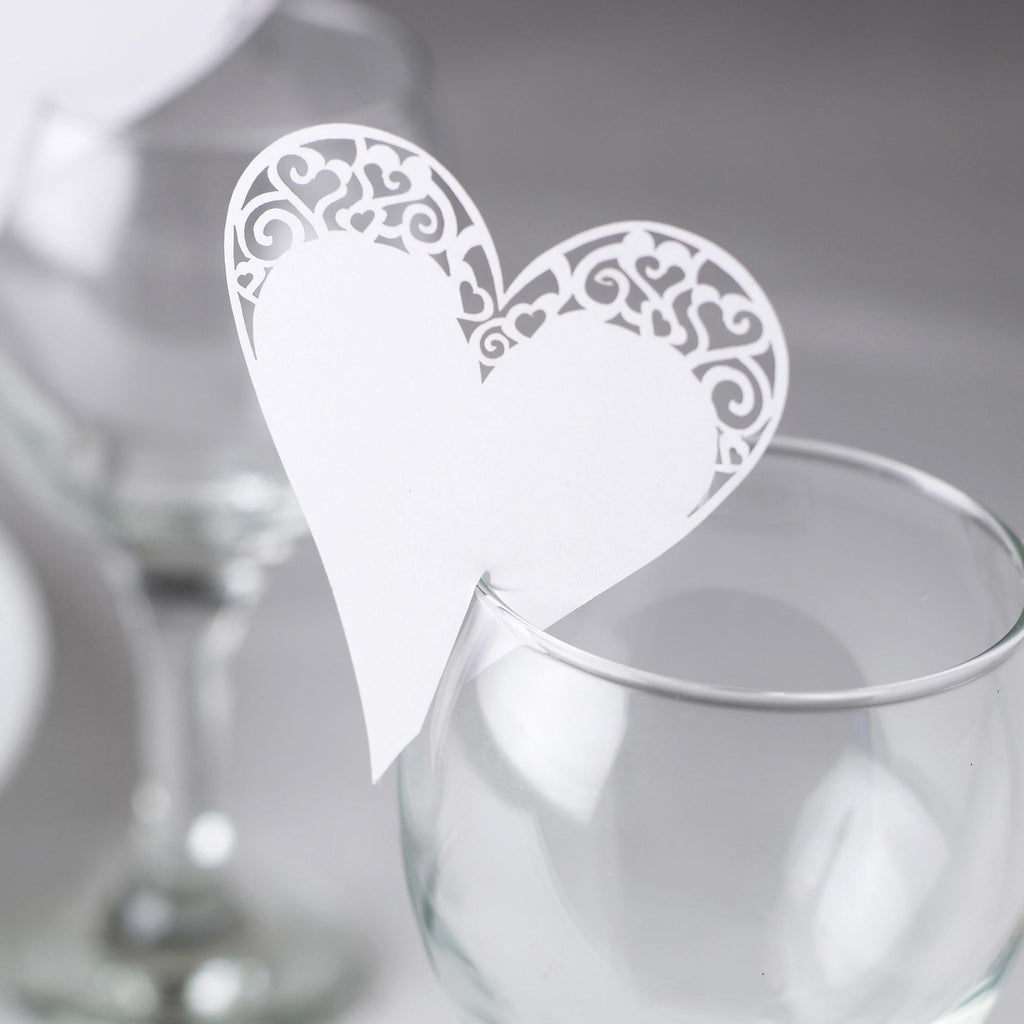 White Laser Cut Place Cards for Glass - Contemporary Heart - Wedlock Shop