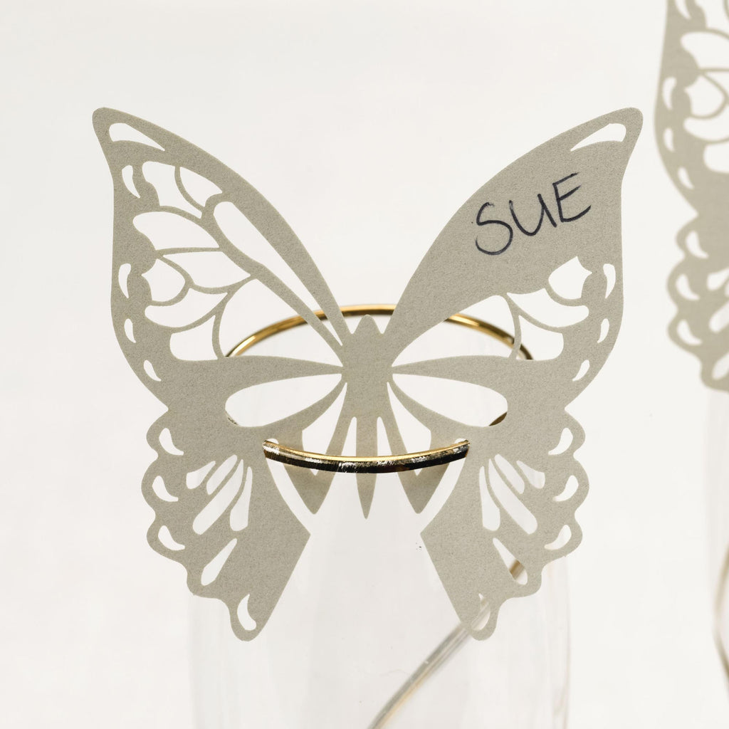 Ivory Laser Cut Place Cards for Glass - Elegant Butterfly - Wedlock Shop