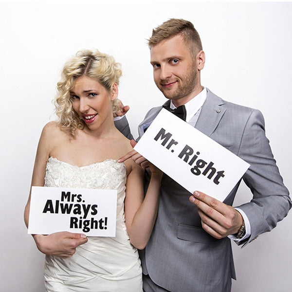 Mr Right Mrs Always Right Photo Prop Cards - Wedlock Shop
