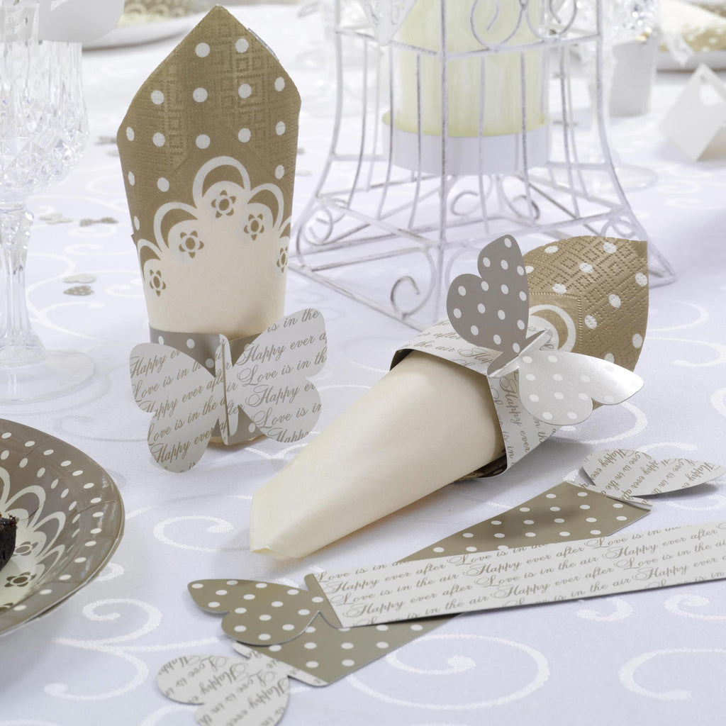 Napkin Rings Ivory & Gold - Chic Boutique - Wedlock Shop