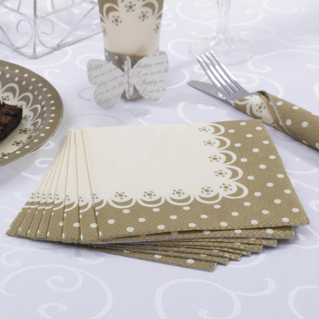 Napkins Ivory & Gold - Chic Boutique - Wedlock Shop