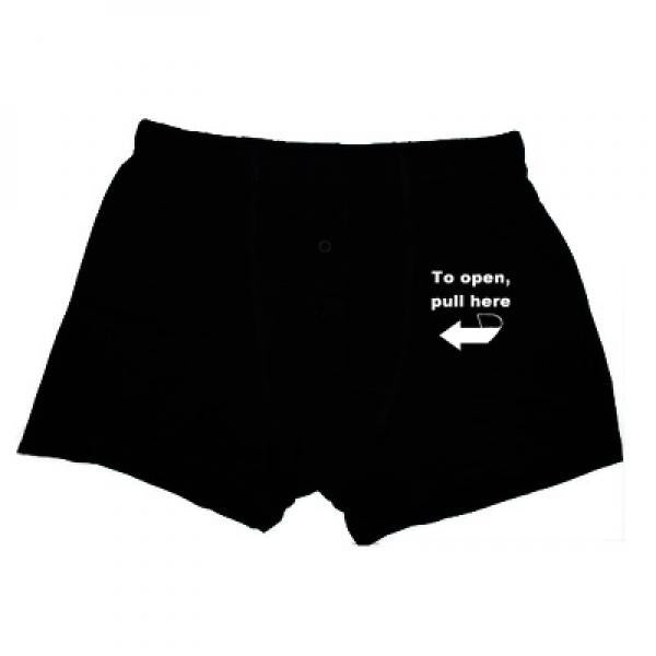 Novelty 'Pull Here To Open' Design Boxer Shorts - Wedlock Shop