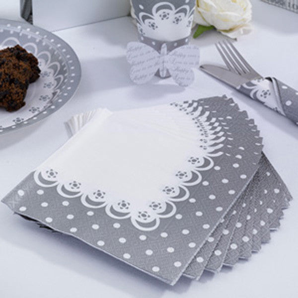 Napkins White & Silver - Chic Boutique - Wedlock Shop
