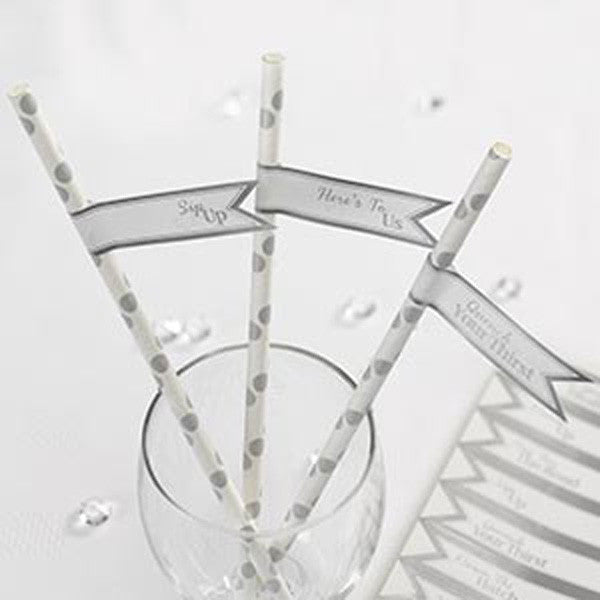 Straw Flags White & Silver - Chic Boutique - Wedlock Shop
