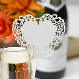Ivory Laser Cut Place Card for Glass - Vintage Romance - Wedlock Shop