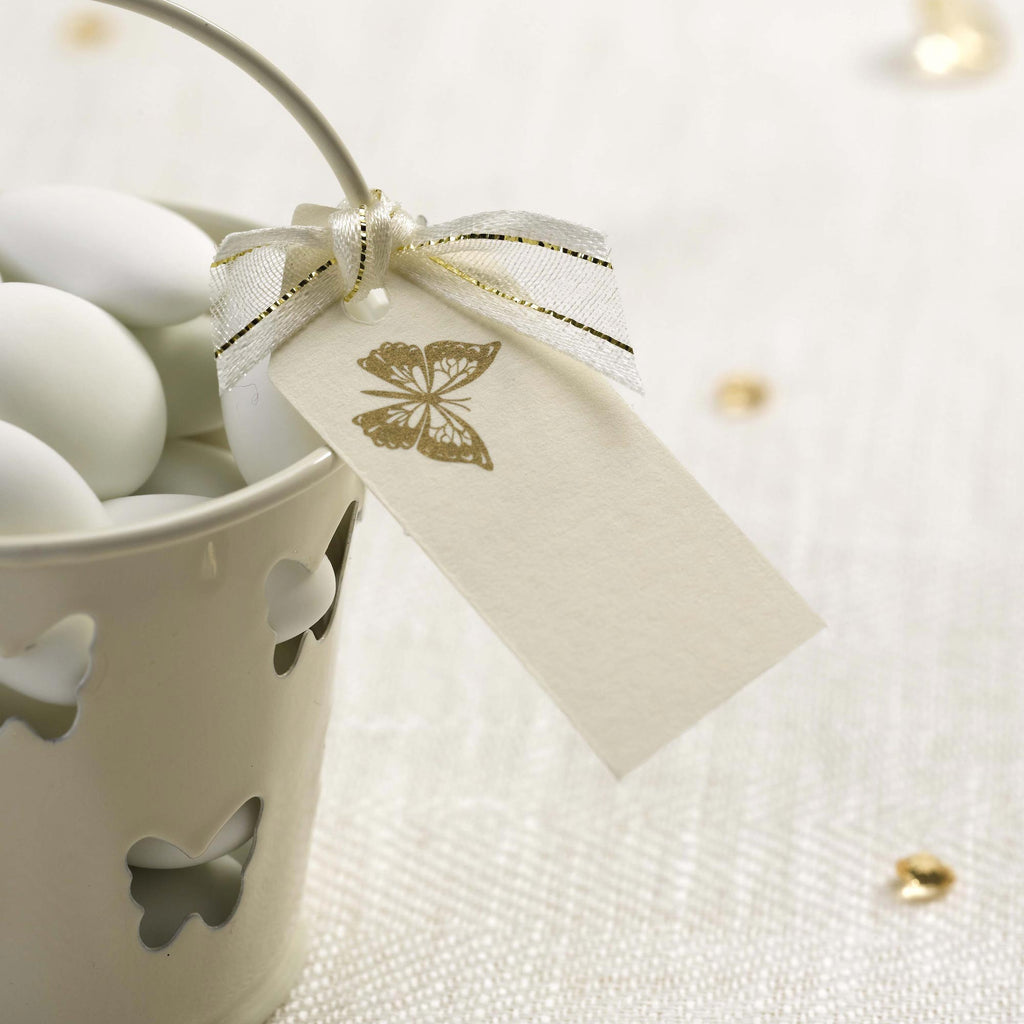Plain Luggage Tags Ivory/Gold - Elegant Butterfly - Wedlock Shop
