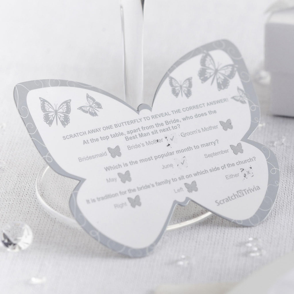 Scratch Trivia Game White/Silver - Elegant Butterfly - Wedlock Shop
