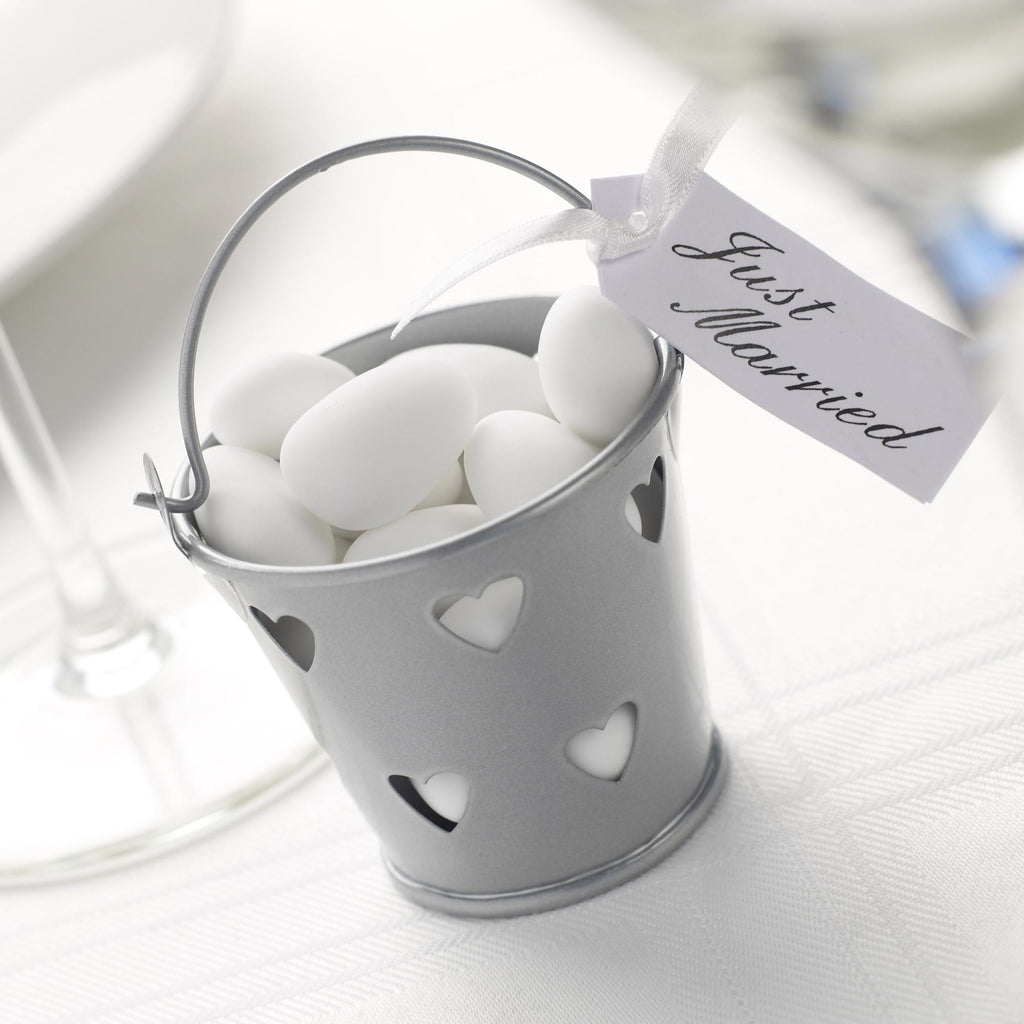 Silver Favour Pails - Contemporary Heart - Wedlock Shop