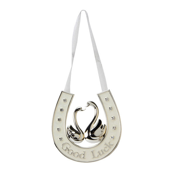 Silver Plated and Cream Love Bird Brides Lucky Horseshoe - Wedlock Shop