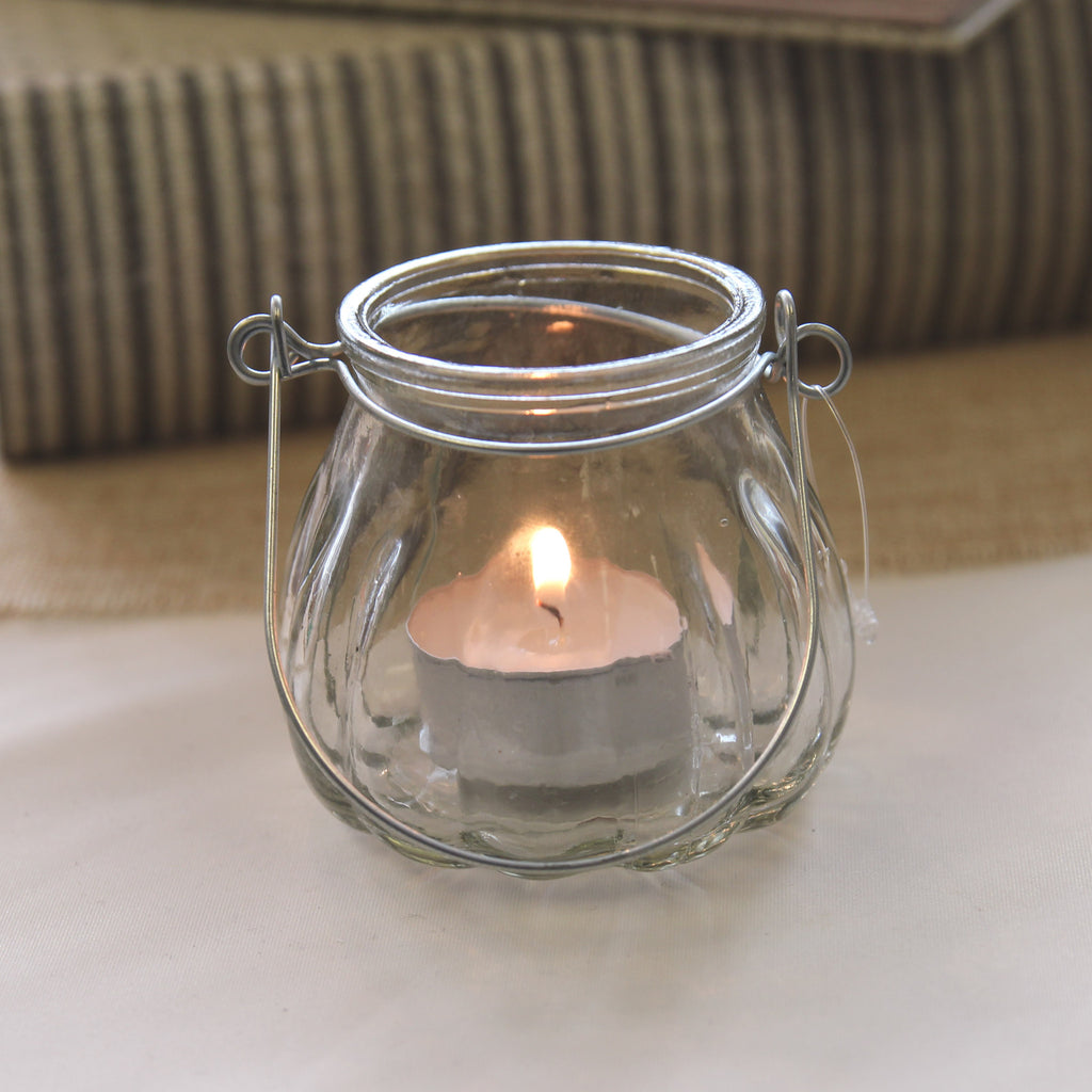 Small Glass Tea Light Holder with Handle - Wedlock Shop - 2
