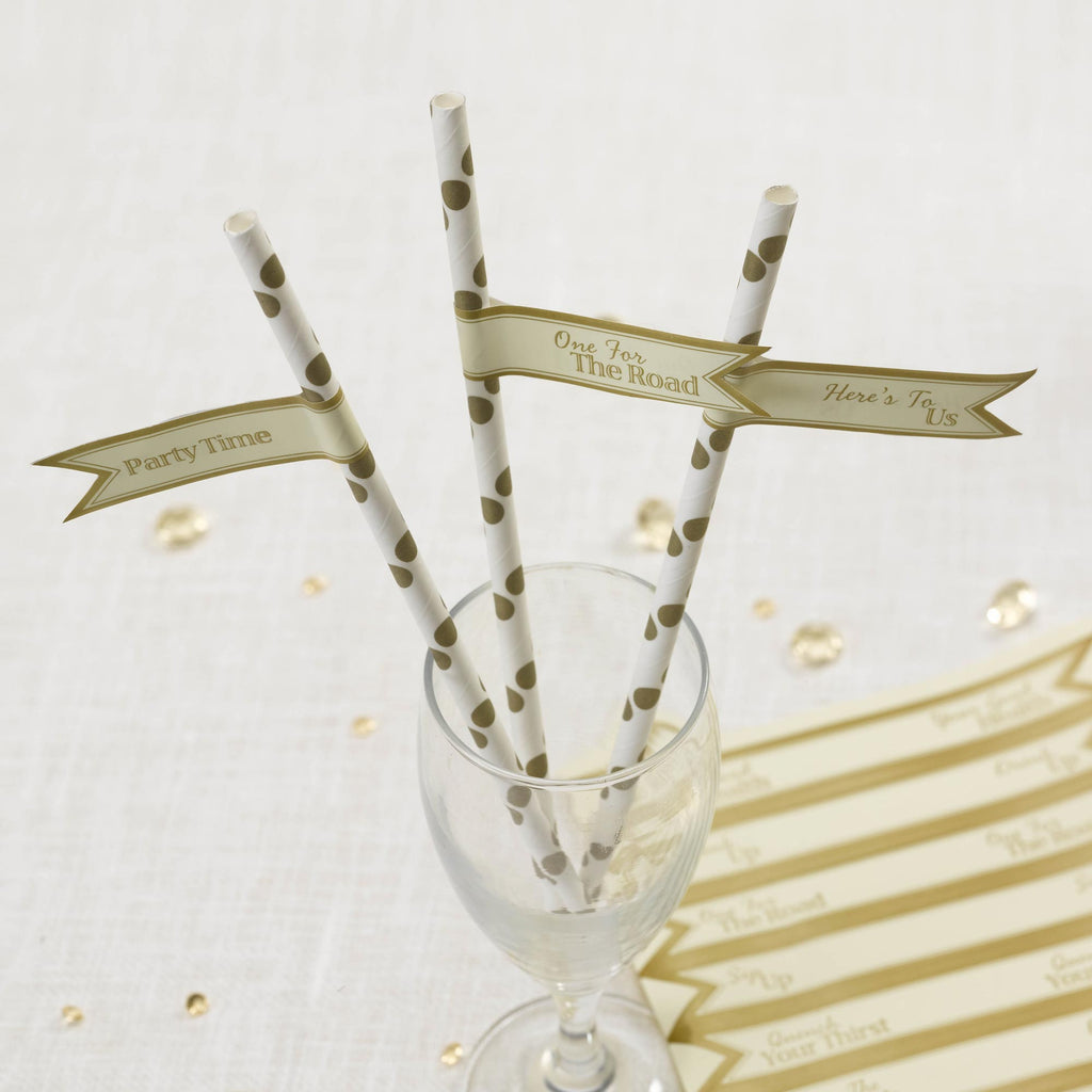 Straw Flags Ivory & Gold - Chic Boutique - Wedlock Shop