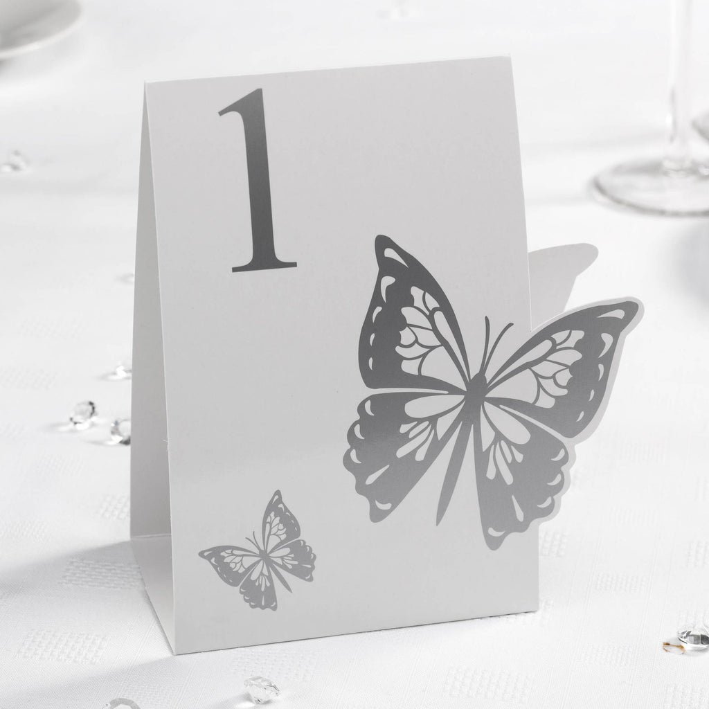 Table Numbers 1-12 White/Silver - Elegant Butterfly - Wedlock Shop