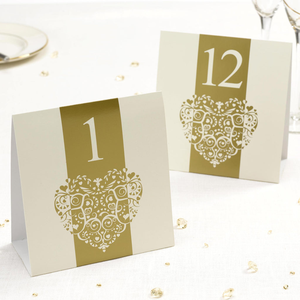 Table Numbers 1-12 White/Silver - Vintage Romance - Wedlock Shop