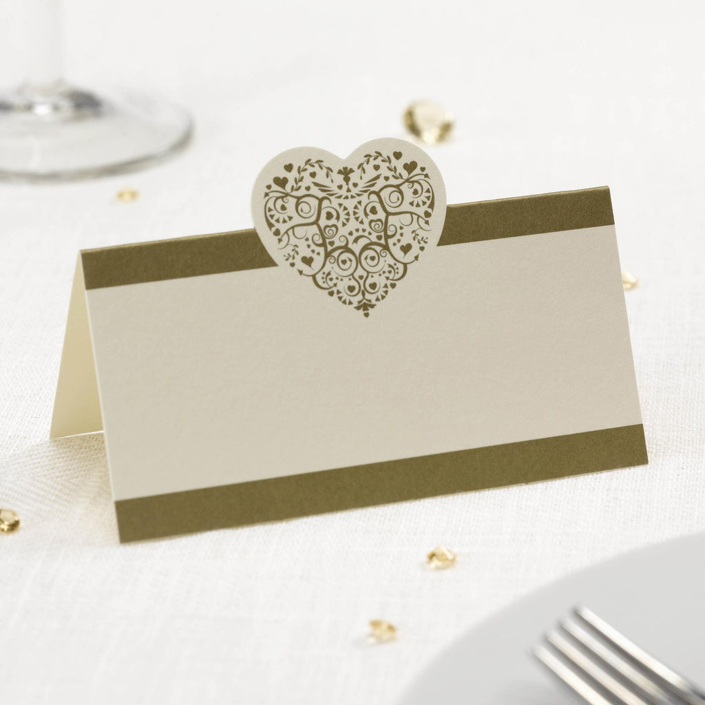Tent Place Cards Ivory/Gold - Vintage Romance - Wedlock Shop
