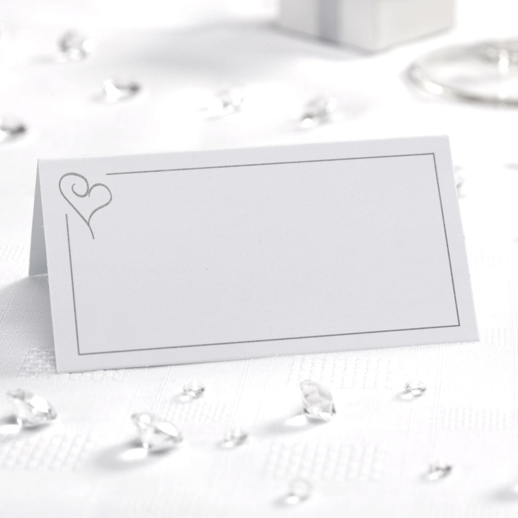 Tent Place Cards White/Silver - Contemporary Heart - Wedlock Shop