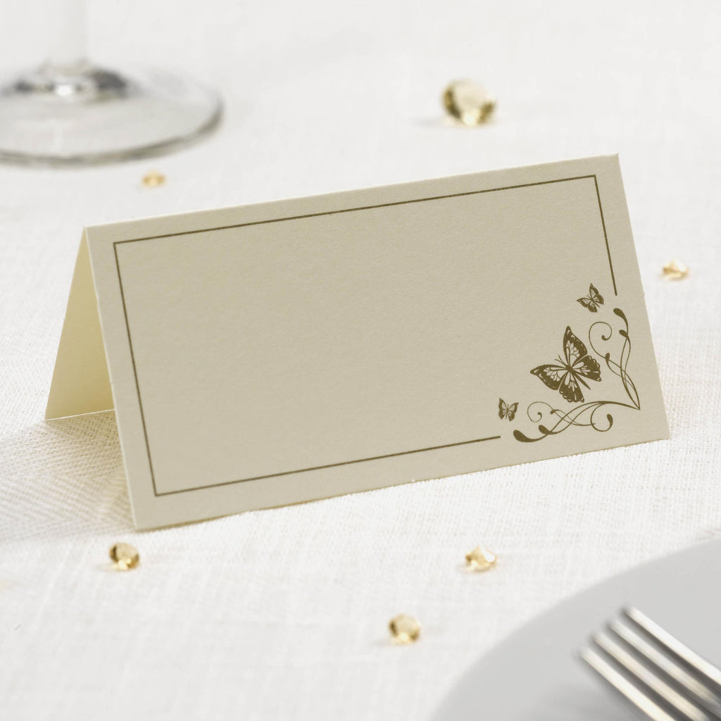 Tent Place Cards Ivory/Gold - Elegant Butterfly - Wedlock Shop