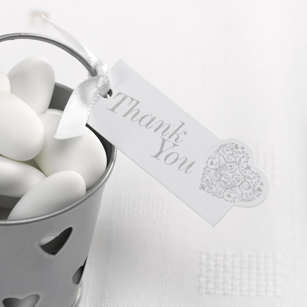 Thank You Luggage Tags White/Silver - Vintage Romance - Wedlock Shop