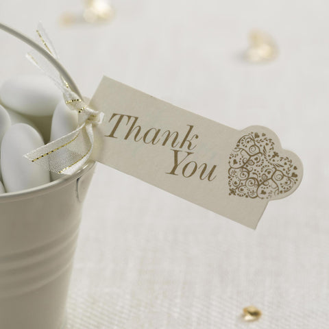 Thank You Luggage Tags Ivory/Gold - Elegant Butterfly