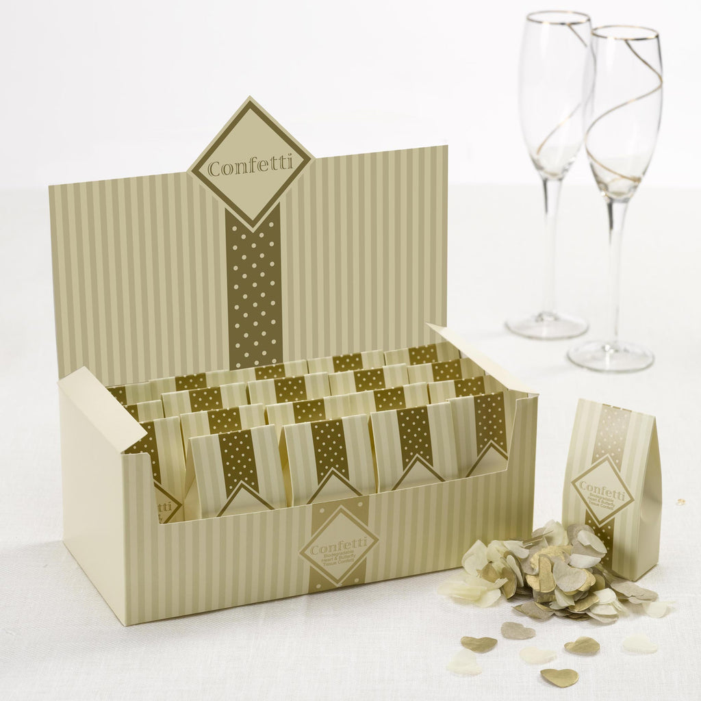 20 packs of Tissue Paper Confetti Ivory & Gold - Chic Boutique - Wedlock Shop