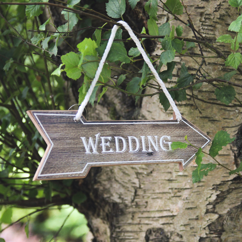 Wedding Wooden Hanging Arrow Sign - Wedlock Shop