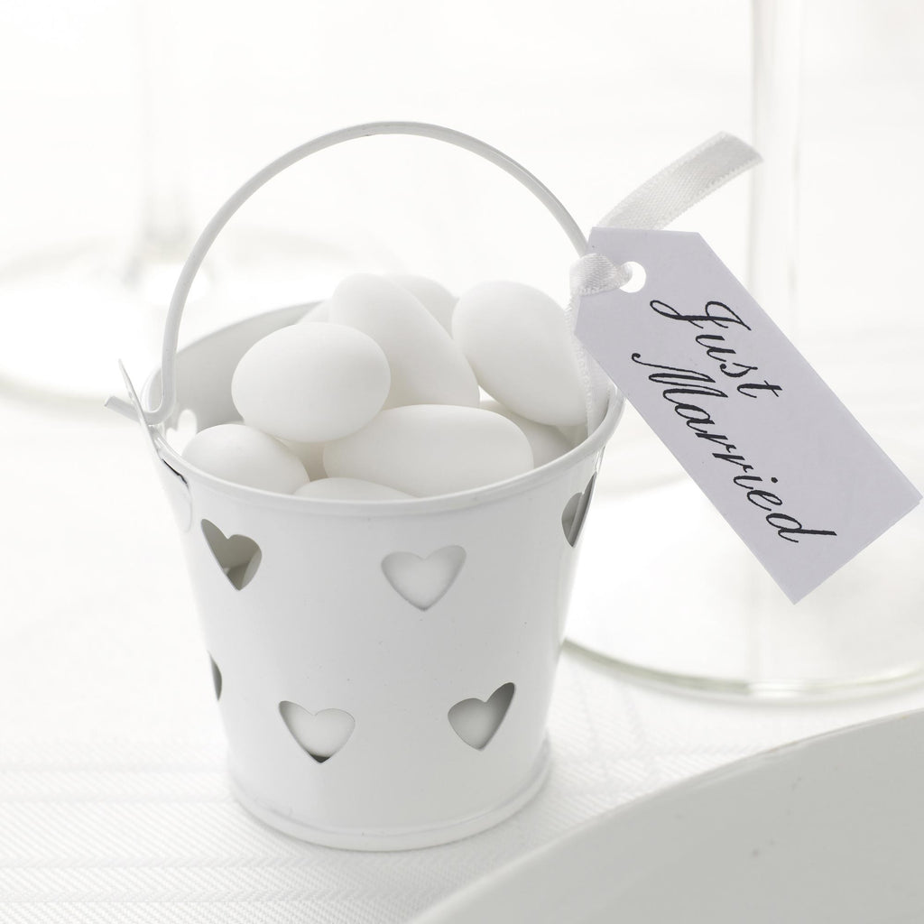 White Favour Pails - Contemporary Heart - Wedlock Shop