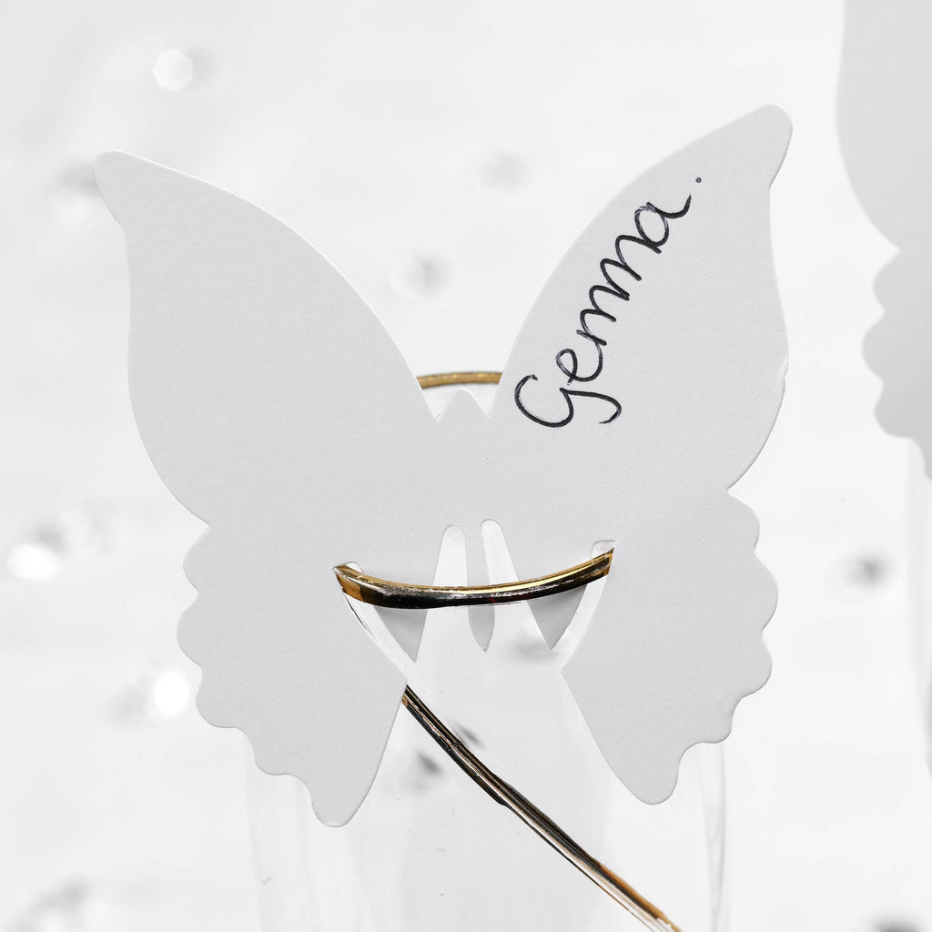 White Place Cards for Glass - Elegant Butterfly - Wedlock Shop