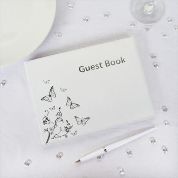 Butterfly Design Guest Book - White & Silver - Wedlock Shop