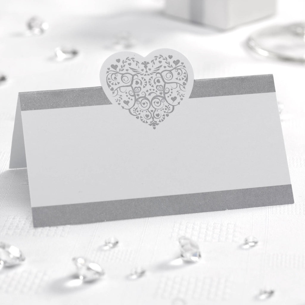 Tent Place Cards White/Silver - Vintage Romance - Wedlock Shop