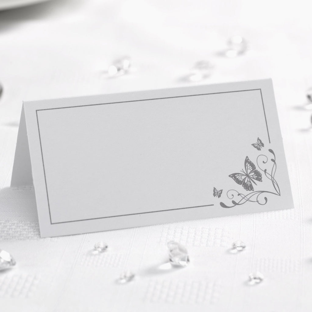 Tent Place Cards White/Silver - Elegant Butterfly - Wedlock Shop