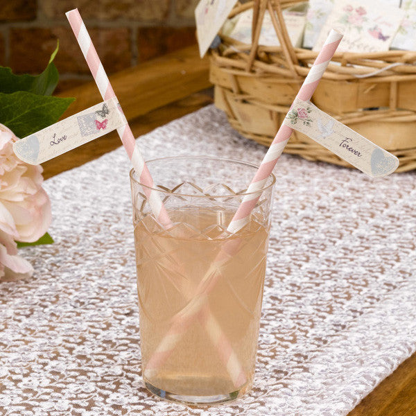 With Love Design Straw Flags - Wedlock Shop