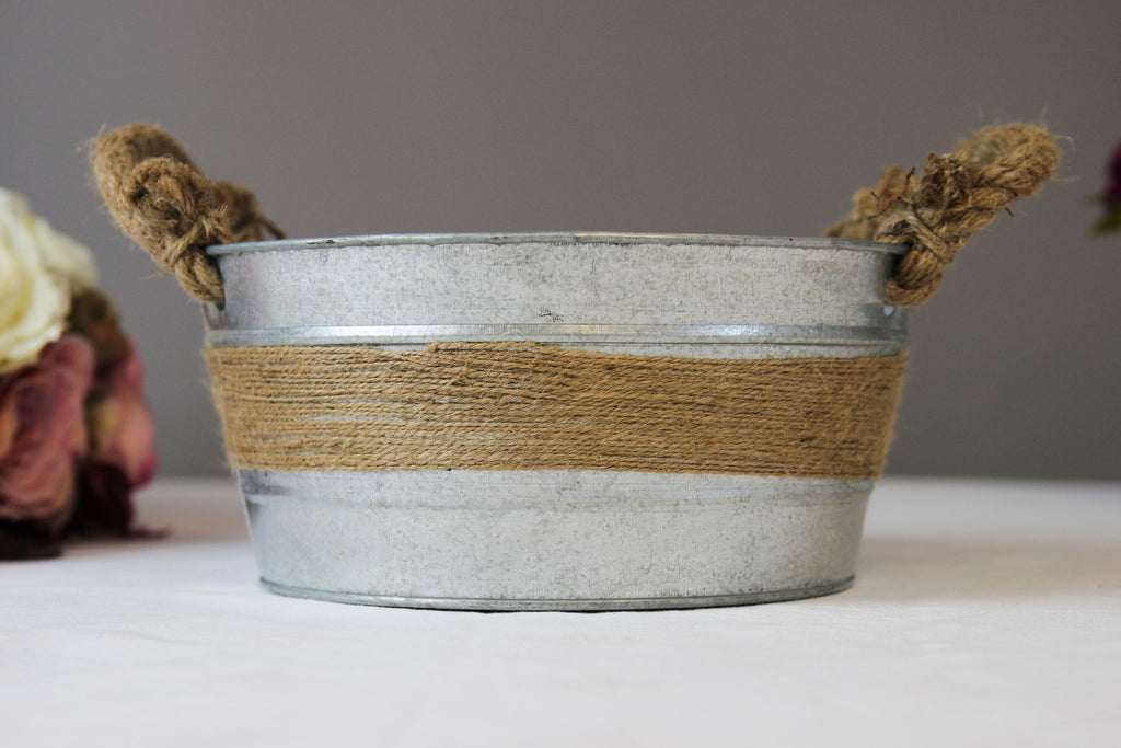 Rustic Zinc Bowl with Rope Handles - Wedlock Shop